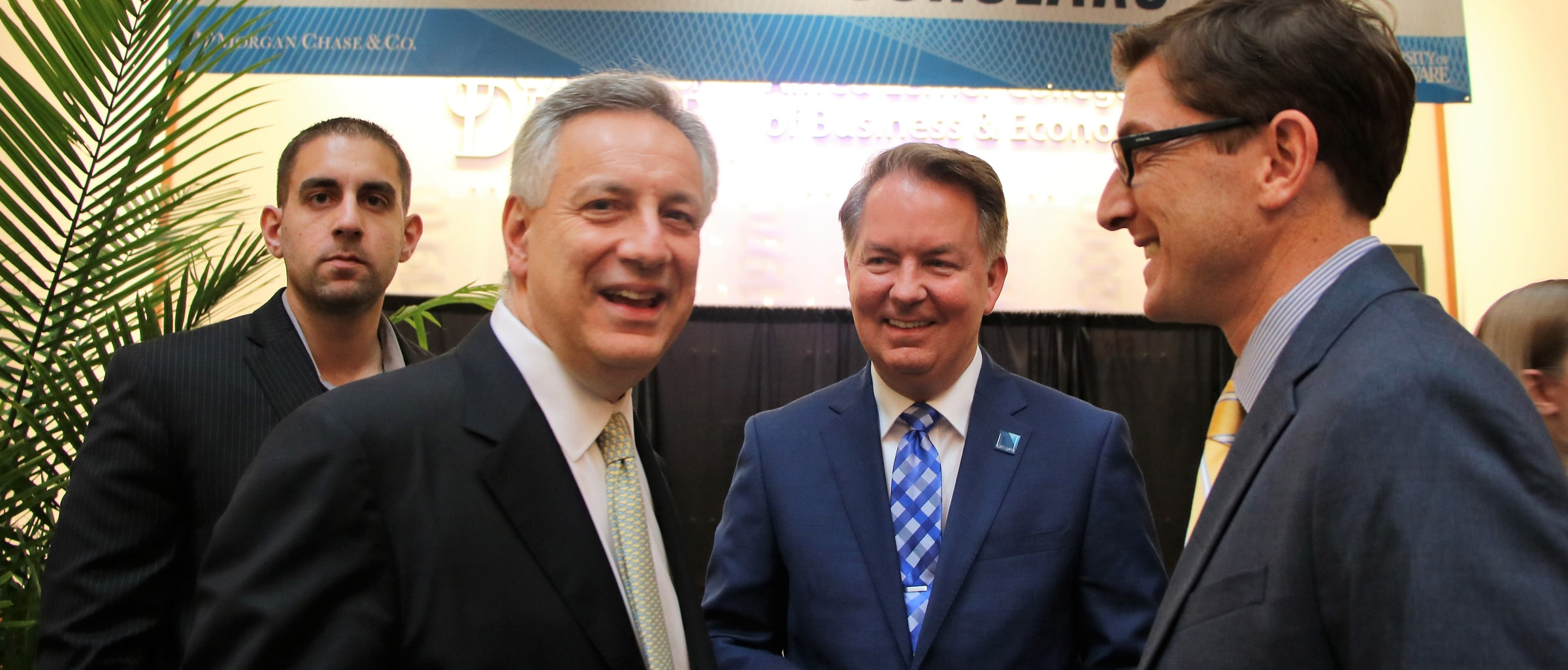 UD Presidentent Assanis along with JPMorgan Chase's James Mahoney and CDS associate director Brian Freedman