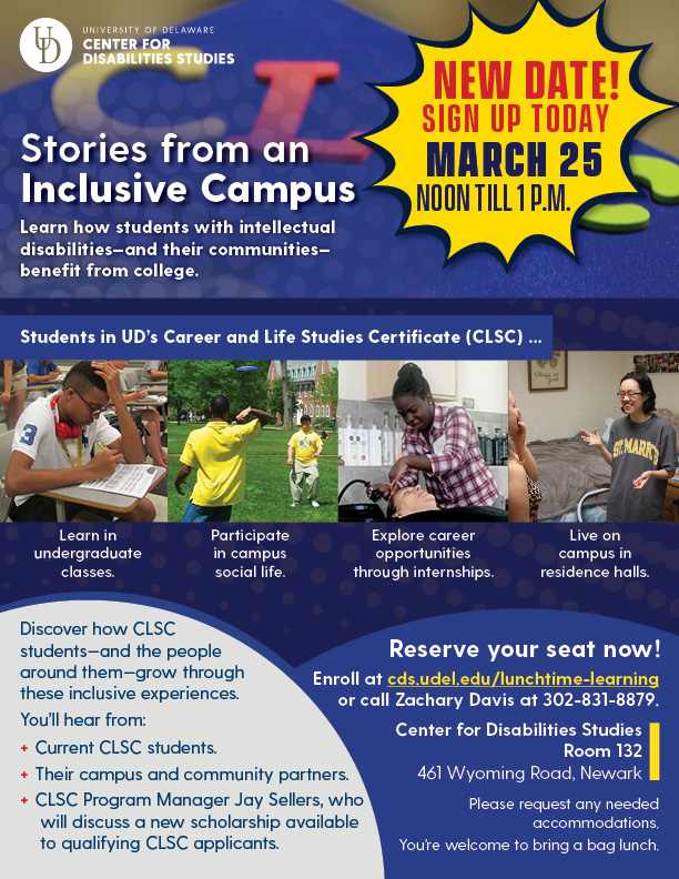 CLSC Lunchtime Learning flier for Stories from an Inclusive Campus event