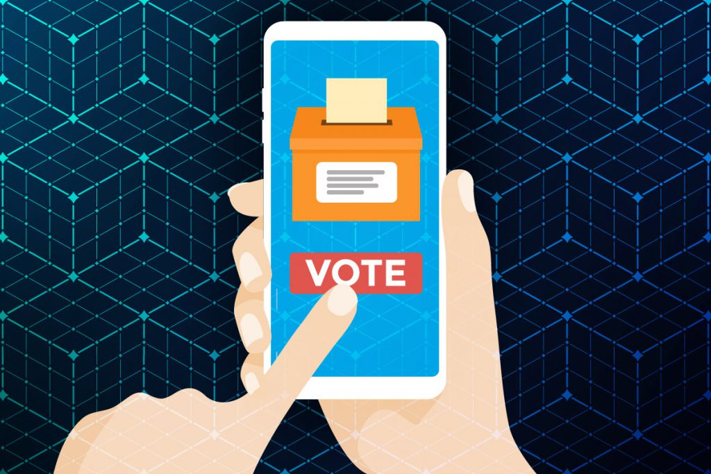 An illustration representing voting via smartphone
