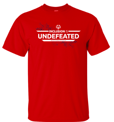 A red shirt with the words Inclusion is Undefeated across the chest
