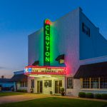 Clayton Theatre marquee lit up in neon colors