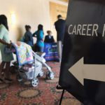 People in line at a career fair