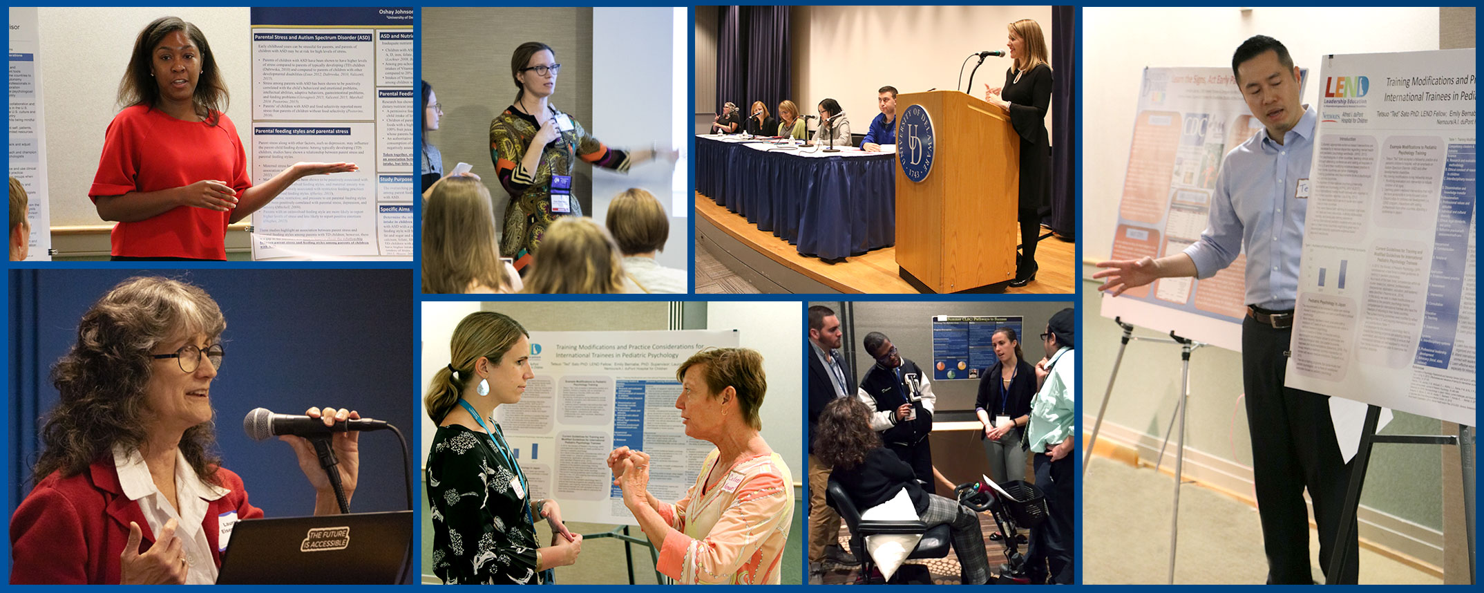 Various people with posters and presentations in a collage