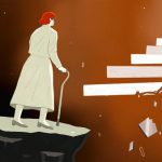 illustration of blind woman attempting to climb perilous steps
