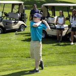 Tim Hengst, 13, of Clementon, N.J., who is legally blind, practices his swing at the Overbrook Country Club