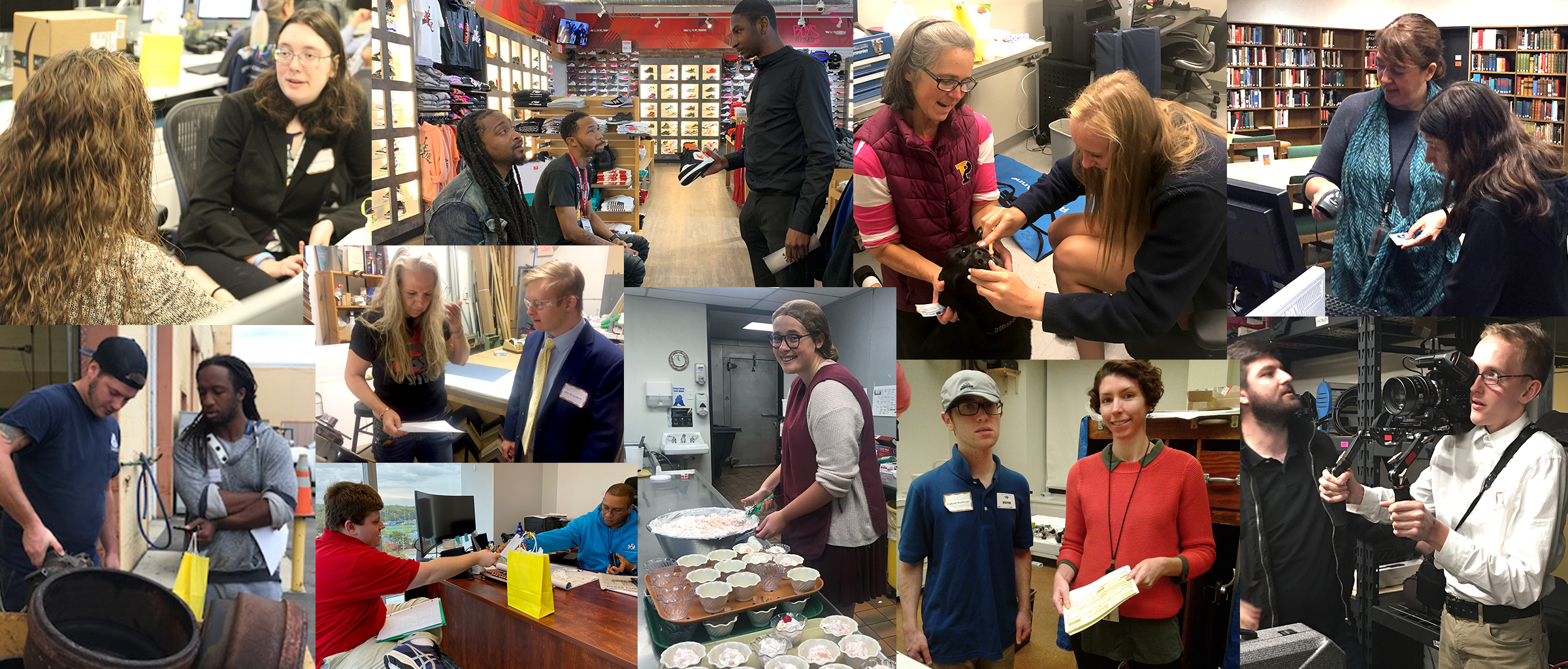 Collage of various Disability Mentoring Day participants from CDS administered programs at the University of Delaware