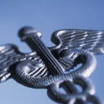 Stylized illustration of the caduceus, a winged staff with two snakes entwined traditionally associated with healing