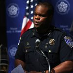 Rochester, New York police chief La'Ron Singletary gives a press conference