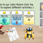 A virtual classroom with links to soothing activities such as yoga and breathing exercises