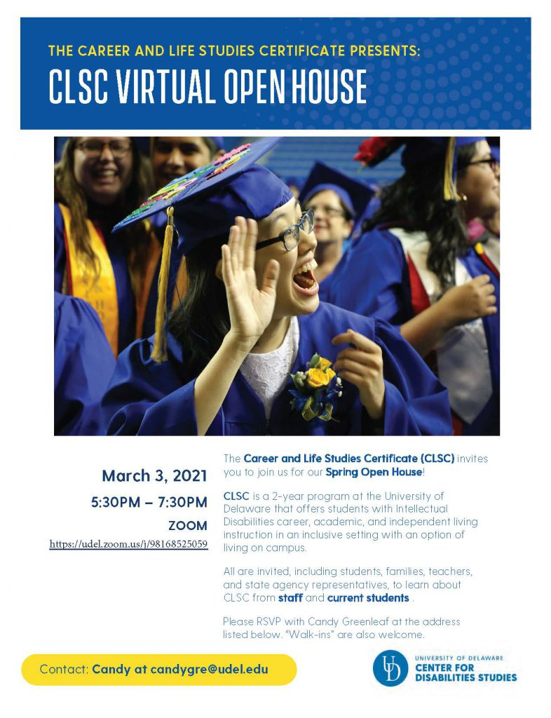 Flyer advertising a virtual open house for the Career and Life Studies Certificate. The event takes place March 3 at 5:30 pm via Zoom