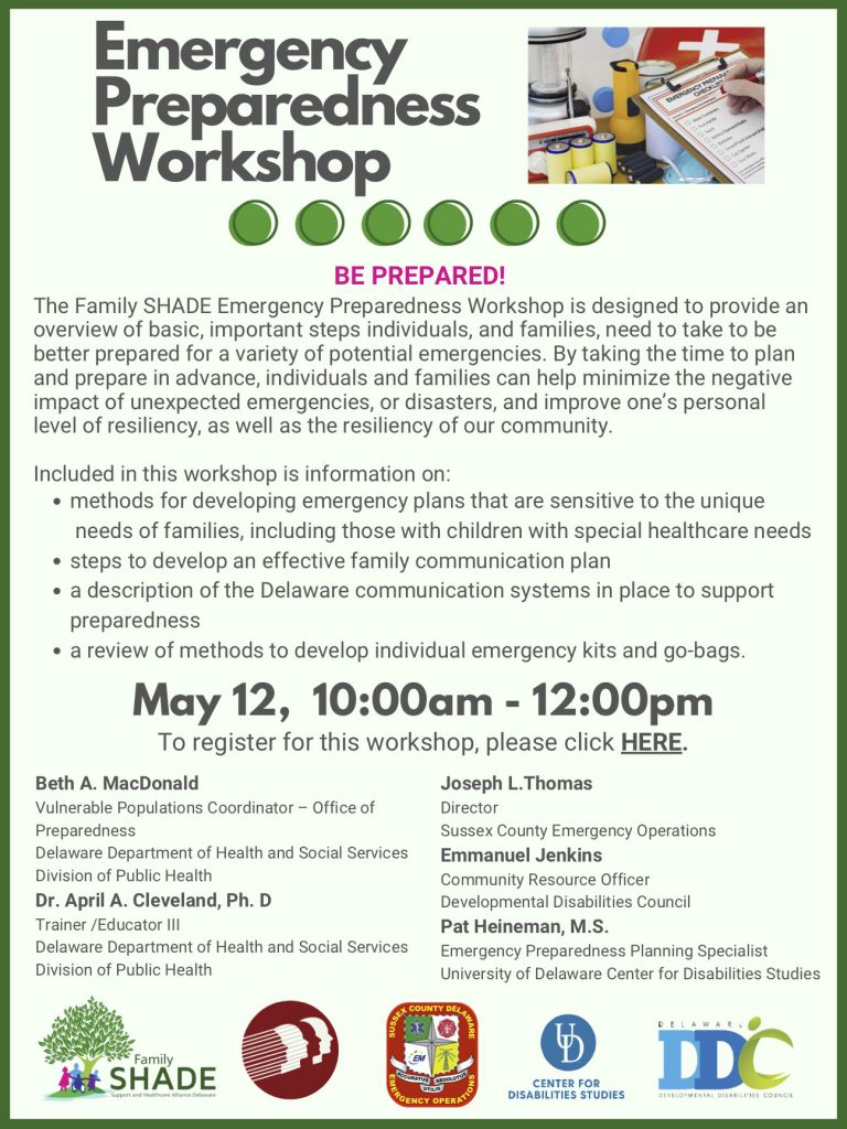Flyer for May 12, 2021 Family SHADE workshop on emergency preparedness. The event runs 10 a.m. till noon and features speakers who specialize in emergency preparedness for people with disabilities