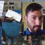 Demonstrators in Los Angeles protest the police shooting of an autistic man, Isaias Cervantes. A picture of his face is inset.